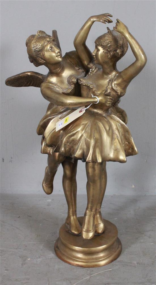 BRONZE OVER CAST METAL STATUE OF BALLERINA AND FAIRY DANCING, 25
