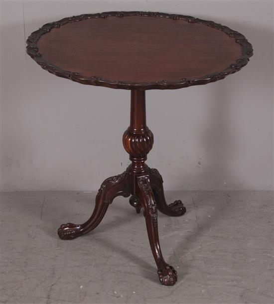 MAHOGANY TILT TOP TABLE WITH CARVED TOP EDGE AND BALL AND CLAW FEET, 28
