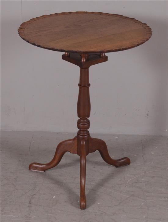 WALNUT PIE CRUST TILT-TOP TABLE WITH BIRDCAGE AND SNAKE FEET, 23