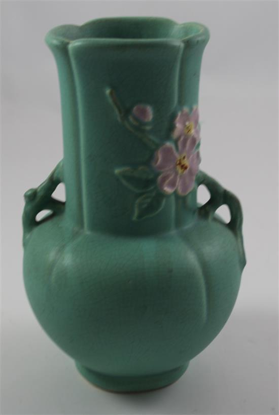 WELLER POTTERY F-7 VASE WITH APPLE BLOSSOMS, 9.5