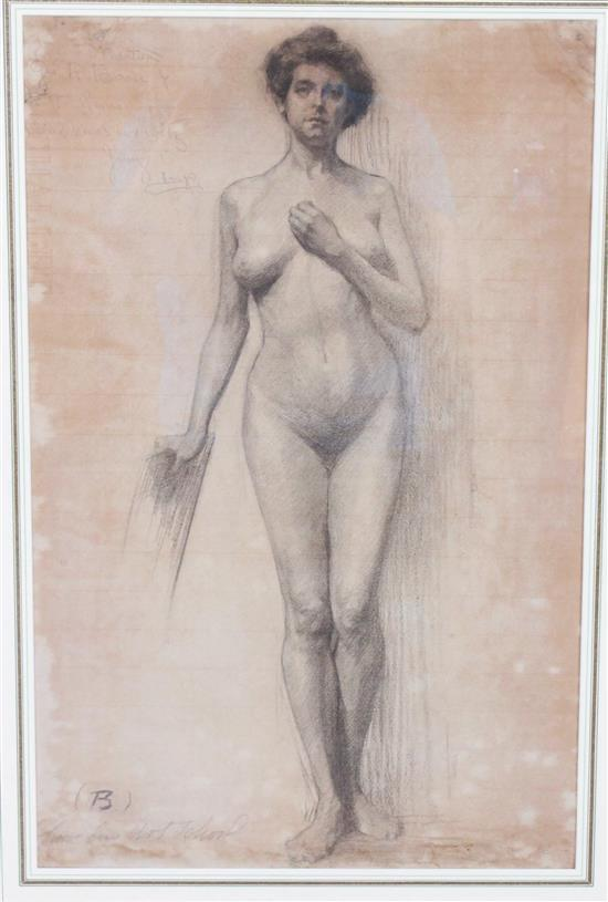 ATTRIBUTED TO GEORGE BELLOWS (AMERICAN 1865-1925) CHARCOAL NUDE FEMALE, SIGNED IN PENCIL LOWER LEFT WITH