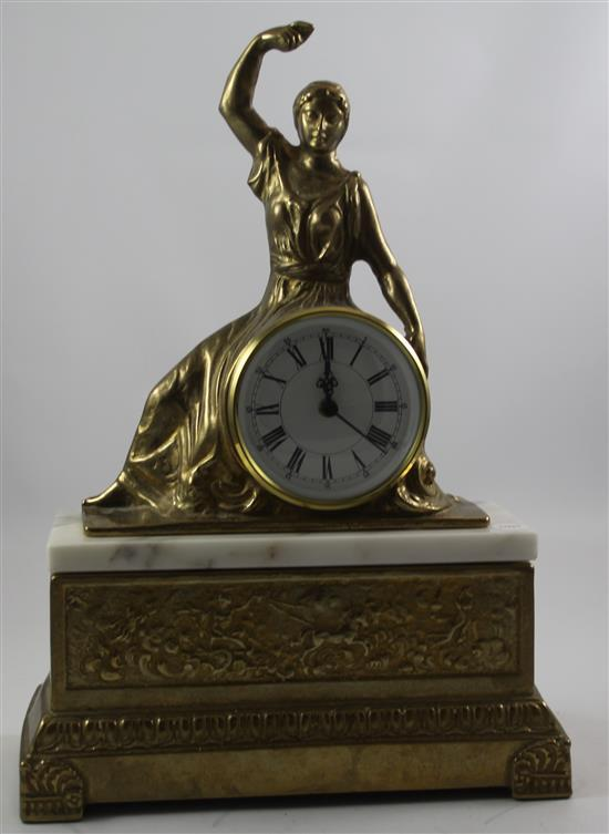 FIGURAL MANTEL CLOCK ON MARBLE AND GOLD BASE, BATTERY OP, 12