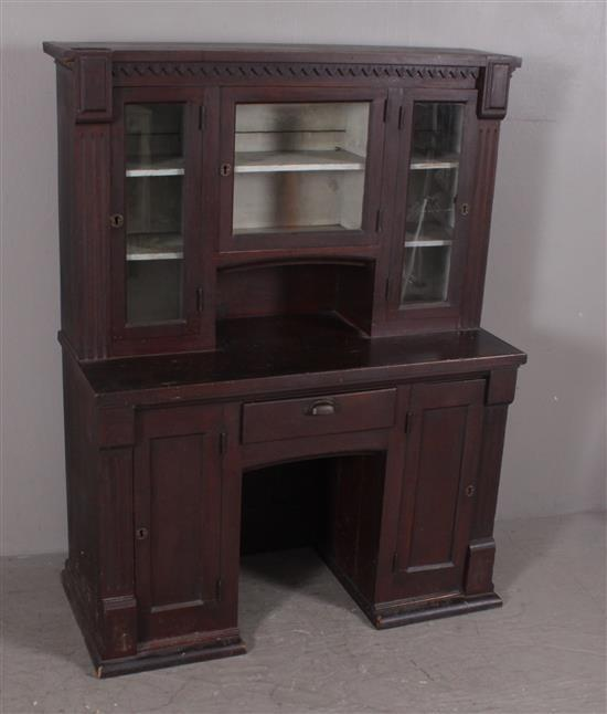 ONE-PIECE CHILD'S SIZE VICTORIAN DESK WITH GLASS DOOR TOP, 41