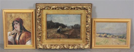 (3) SILAS MARTIN (AMERICAN/OHIO 1841-1900) AND ATTRIBUTED TO SILAS MARTIN OILS INCLUDING LANDSCAPE WITH HAYSTACKS, OVERALL SIZE 11