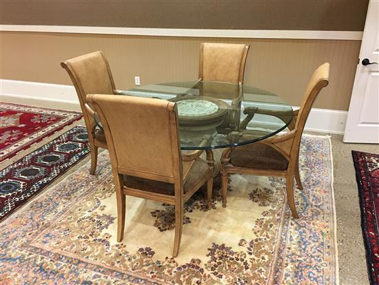 GLASS TOP PEDESTAL BASE DINING TABLE AND 4 LION CARVED ARM CHAIRS WITH WOVEN BACKS AND UPHOLSTERED SEATS, 64