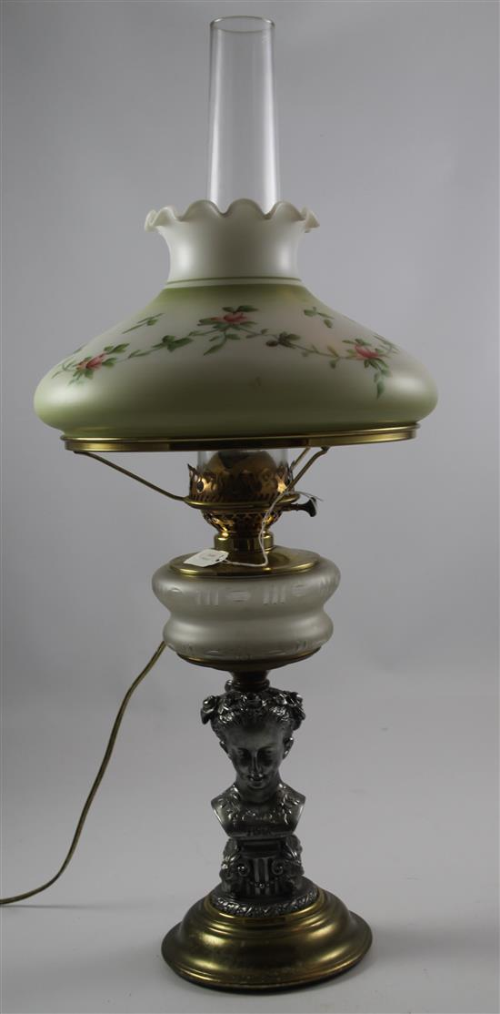 FIGURAL METAL AND GLASS LAMP WITH PAINTED SHADE, 27
