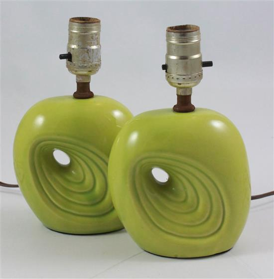 PAIR MID CENTURY MODERN CHARTREUSE POTTERY 8.5