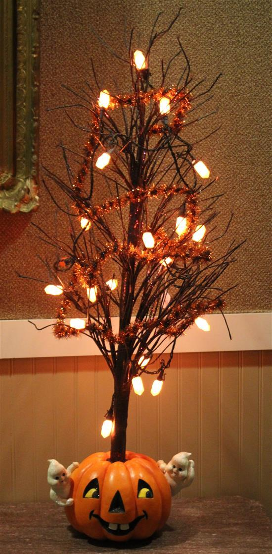 HALLOWEEN TREE WITH LIGHTS AND PUMPKIN BASE, 45