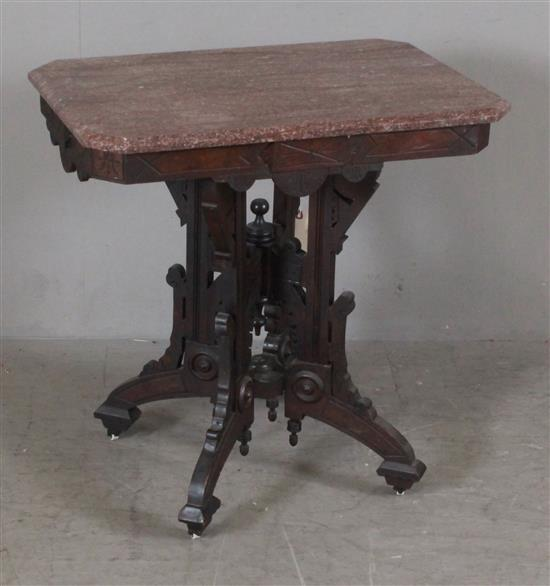 WALNUT EASTLAKE VICTORIAN PARLOR TABLE WITH MAROON MARBLE TOP, 29