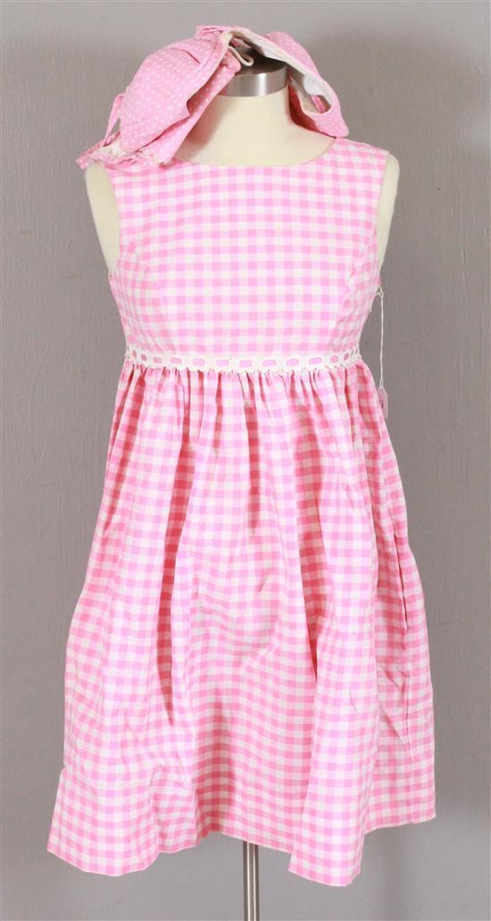 3 PIECE PINK AND WHITE GINGHAM OUTFIT WORN BY MAMIE VAN DOREN IN 1964 PLAYBOY MAGAZINE PHOTO SHOOT. DESIGNED BY NEOMA ROSE REDISKE,...