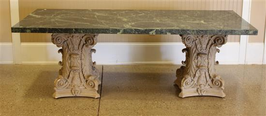 GREEN MARBLE TOP DINING TABLE WITH PLASTER COLUMN BASE, 90
