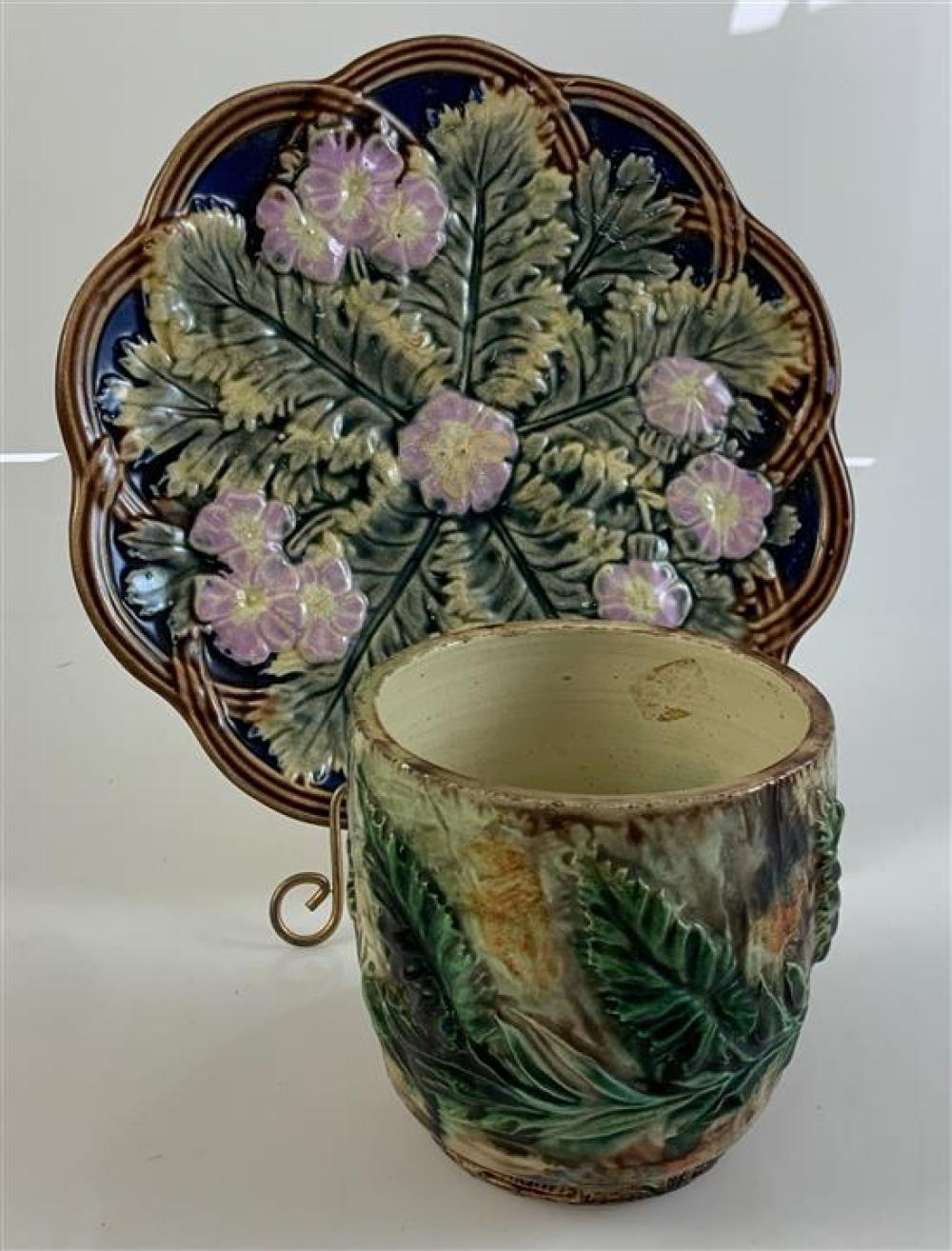 """MAJOLICA 8½""""PLATE AND 3¾"""" CUP, BOTH WITH LEAF PATTERNS"""