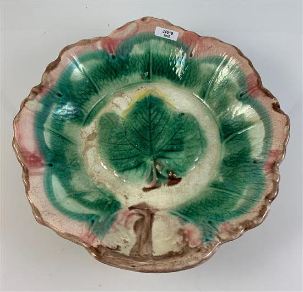 """MAJOLICA LEAF PATTERN BOWL IN GREENS AND PINK, 9¾""""D"""