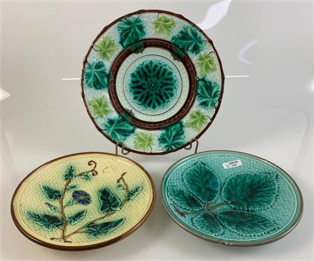 """3 MAJOLICA - 6½"""" YELLOW BASKET WEAVE PATTERN WITH MORNING GLORY FLOWER AND LEAVES, 6½"""" TURQUOISE BASKET WEAVE PATTERN WITH 5 LEAVES,..."""