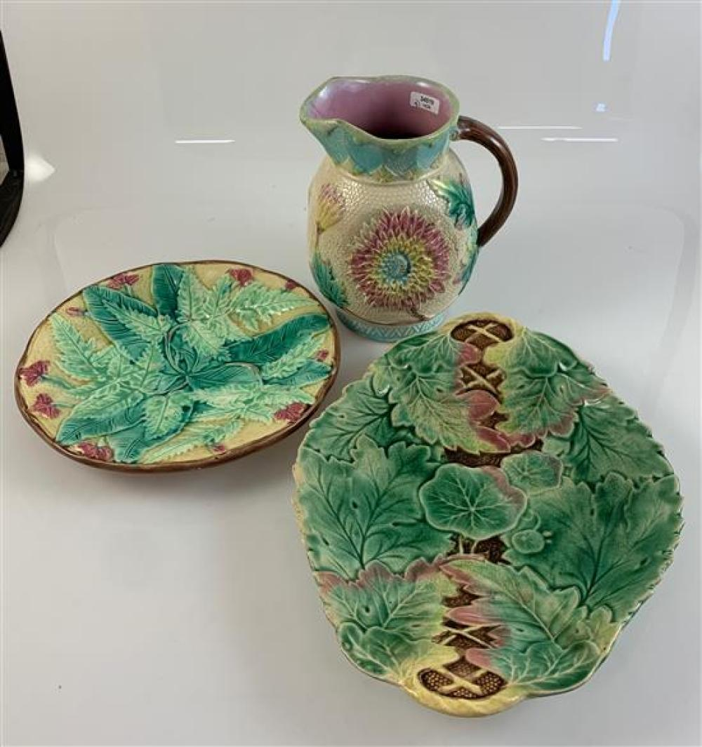 """3 MAJOLICA ITEMS - 6½"""" PITCHER IN TURQUOISE AND WHITE WITH SUNFLOWER DECOR, 8½"""" ROUND LEAF PATTERN PLATE, 11½"""" OVAL LEAF PATTERN PLA..."""