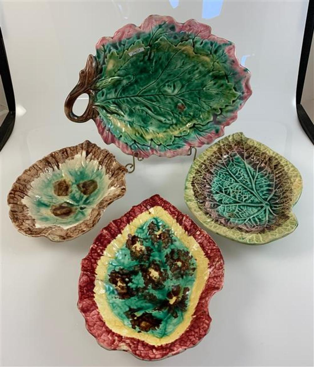 """4 LEAF-SHAPED MAJOLICA PLATES - 9"""" TURQUOISE AND BROWN, 9½"""" RED, YELLOW, TURQUOISE, 10¼"""" GREEN AND BROWN AND 12"""" PINK, TURQUOISE, GREEN"""