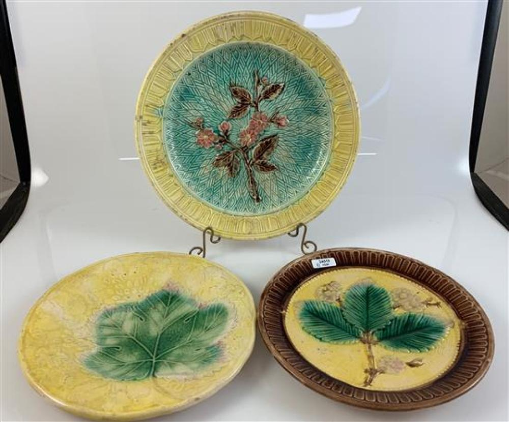"""3 MAJOLICA PLATES - 8"""" BROWN AND YELLOW WITH 3 GREEN LEAVES, 8"""" YELLOW WITH GREEN LEAF, 9½"""" YELLOW AND TURQUOISE WITH FLORAL DECOR"""