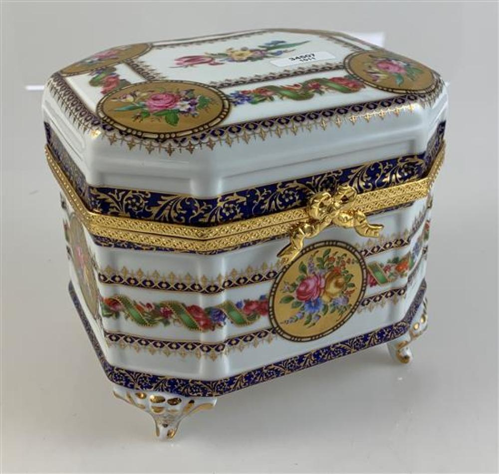 """LIMOGES LARGE ENAMEL TRINKET BOX WITH CLASPED LID MARKED LIMOGES-CHINA, 6""""x 5¼""""x 5"""""""