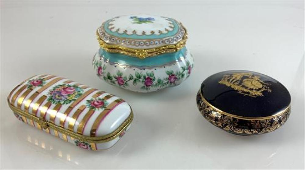 """3 ENAMEL TRINKET BOXES - COBALT AND GOLD LIMOGES CASTEL FRANCE WITH LID 1½""""x  3,"""" WHITE WITH GOLD STRIPES LIMOGES-CHINA 4¼""""x 1¼"""" AND..."""