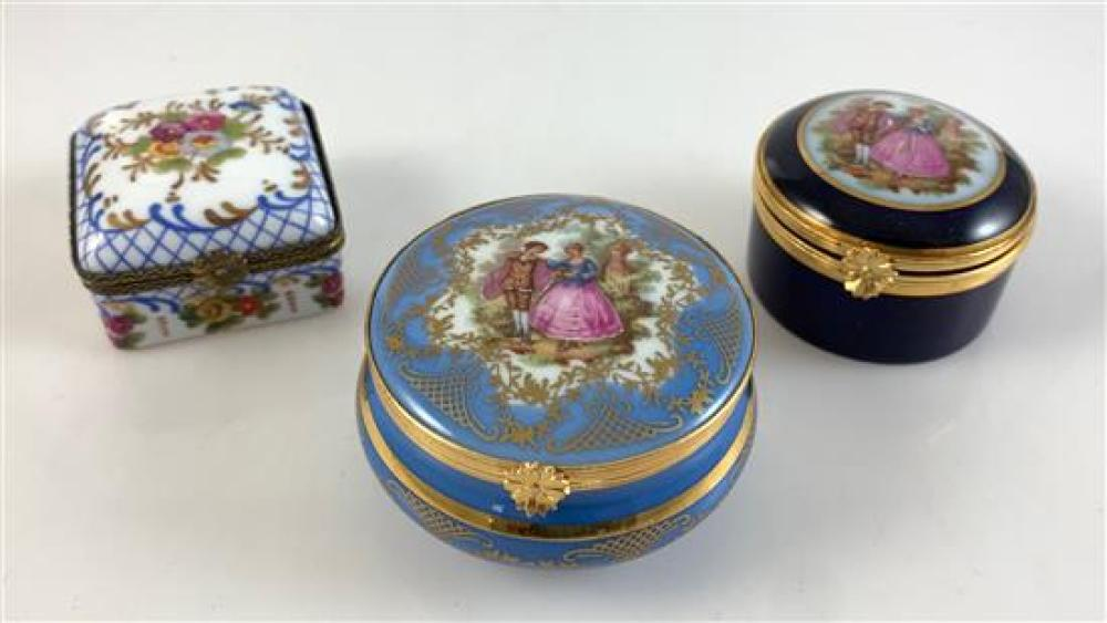 """3 LIMOGES FRANCE ENAMEL TRINKET BOXES WITH CLASPED LIDS - SQUARE COBALT WITH FLOWERS 2""""x 1¼,"""" ROUND COBALT WITH COUPLE 2¼""""x 1½"""" AND..."""