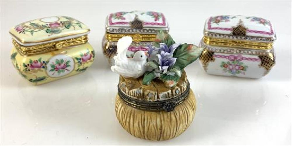 """4 LIMOGES FRANCE HINGED TRINKET BOXES - 2 WHITE AND ONE YELLOW ENAMEL 3""""x 2¼,"""" BROWN BISQUE WITH BIRD FIGURE 3""""H"""