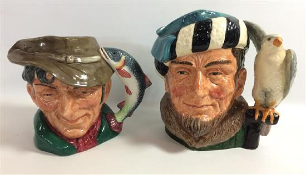"""2 ROYAL DOULTON LARGE CHARACTER JUGS - """"THE FALCONNER"""" AND """"THE POACHER"""""""