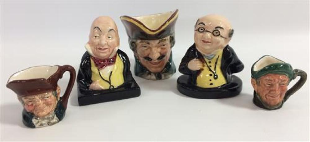 BOX LOT ROYAL DOULTON INCLUDING 2 DICKENS'' CHARACTERS AND 3 SMALL/MINIATURE CHARACTER JUGS