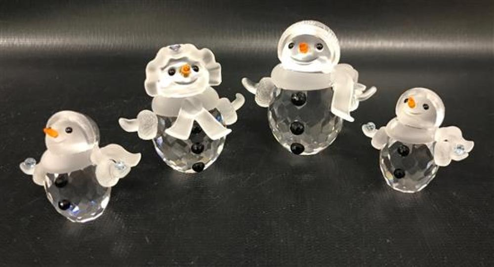 """4 SWAROVSKI CRYSTAL FIGURINES - 2 """"LITTLE SNOWMAN,"""" """"SNOW WOMAN"""" WITH PURSE AND SNOWMAN, 1½"""" TO 2¼.""""  ORIGINAL BOXES INCLUDED"""