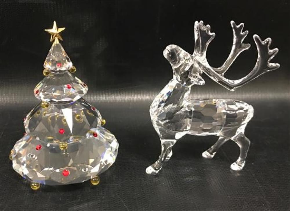 """2 SWAROVSKI CRYSTAL FIGURINES - REINDEER AND CHRISTMAS TREE, 3,"""" WITH 2 DISPLAY MIRRORS. ORIGINAL BOXES INCLUDED"""