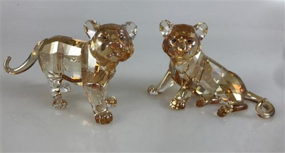 """2 SWAROVSKI CRYSTAL FIGURINES - TIGER CUB SITTING AND TIGER CUB STANDING, 2."""" ORIGINAL BOXES INCLUDED"""