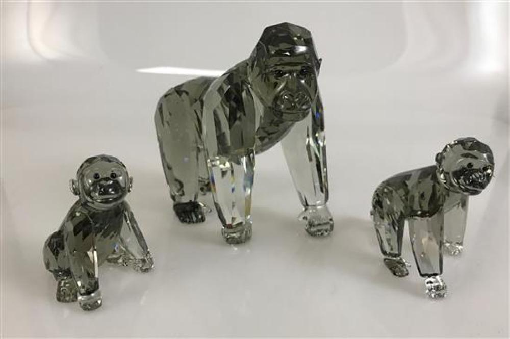 """3 SWAROVSKI CRYSTAL ANIMALS - GORILLA MOTHER, GORILLA CUBS STANDING AND GORILLA CUB SITTING 2¼"""" TO 4¼."""" ORIGINAL BOXES INCLUDED"""