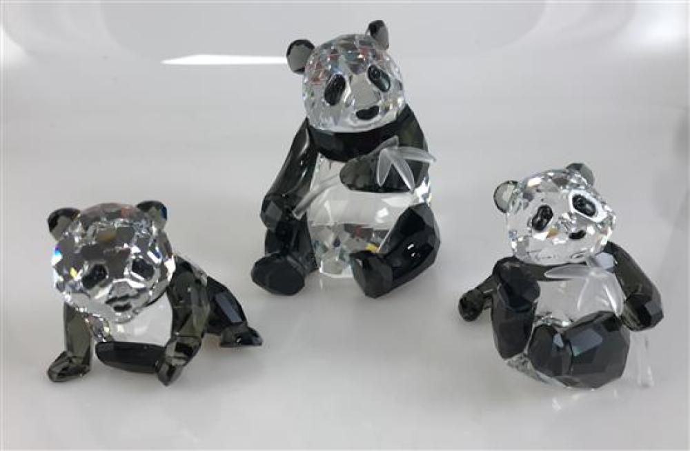 "Lot 1101: 3 SWAROVSKI CRYSTAL ANIMALS - PANDA MOTHER AND 2 PANDA CUBS 2¼"" TO 3½."" ORIGINAL BOXES INCLUDED"