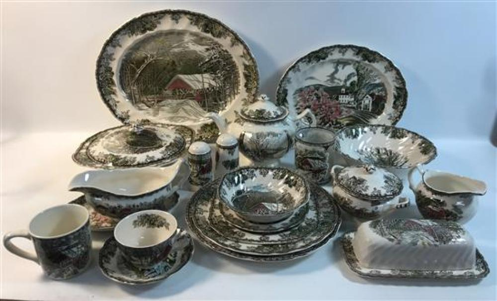 """71 PIECES JOHNSON BROS """"THE FRIENDLY VILLAGE"""" CHINA - (10) 10½"""" ROUND DINNER PLATES, (6) 10"""" ROUND LUNCHEON PLATES, (12) 7½"""" SQUARE..."""