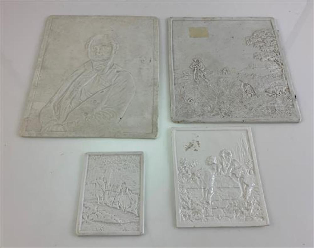 """4 LITHOPHANE PANELS - 2½""""x 3¼"""" DEPICTING BOY AND GIRL ON FOOT BRIDGE, 3¼""""x 4"""" DEPICTING 2 CHILDREN ON STONE WALL, 5½""""x 6½"""" DEPICTING..."""