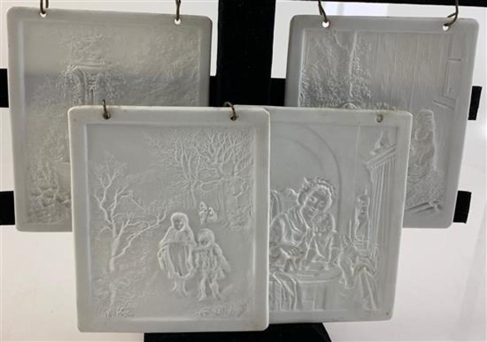 """4 LITHOPHANE PANELS 4""""x 4½"""" WITH 2 HOLES IN TOP EDGE FOR HOOKS. THEY  DEPICT CHILDREN WALKING IN THE WOODS, CLASSICAL WOMAN WITH CHE..."""