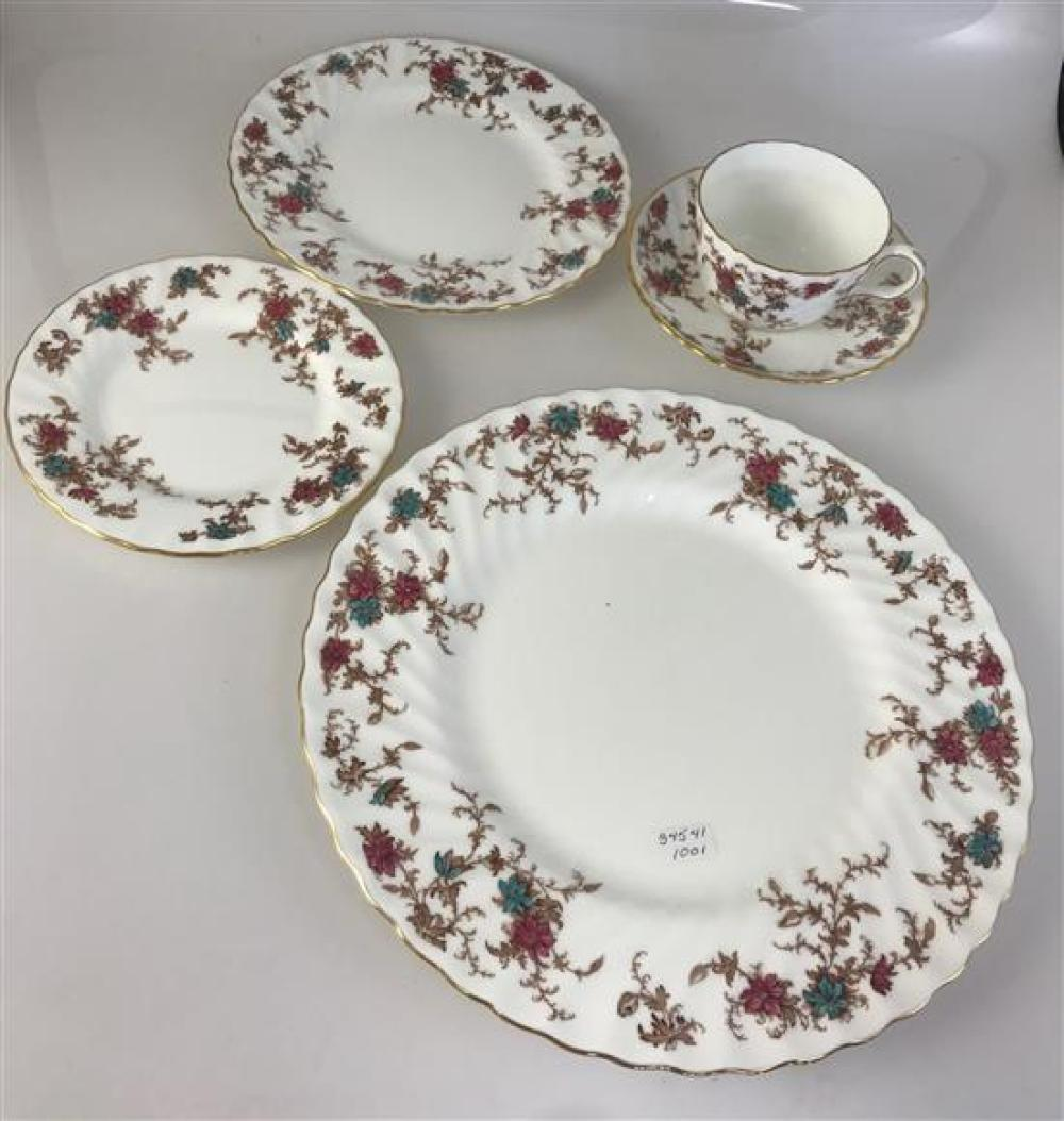 """40 PIECES MINTON """"ANCESTRAL"""" CHINA - 8 DINNER PLATES, 8 SALAD PLATES, 8 BREAD PLATES, 8 CUPS, 8 SAUCERS"""