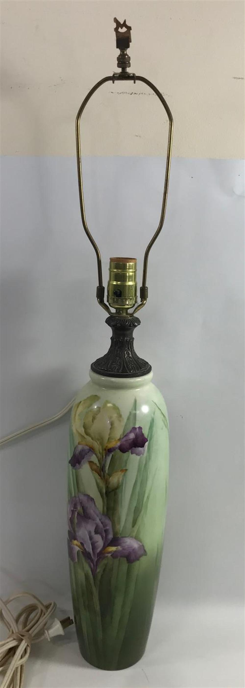 """BELLEEK WILLETS PORCELAIN VASE WITH IRIS MOTIF FITTED AS A LAMP, 30"""" H OVERALL"""