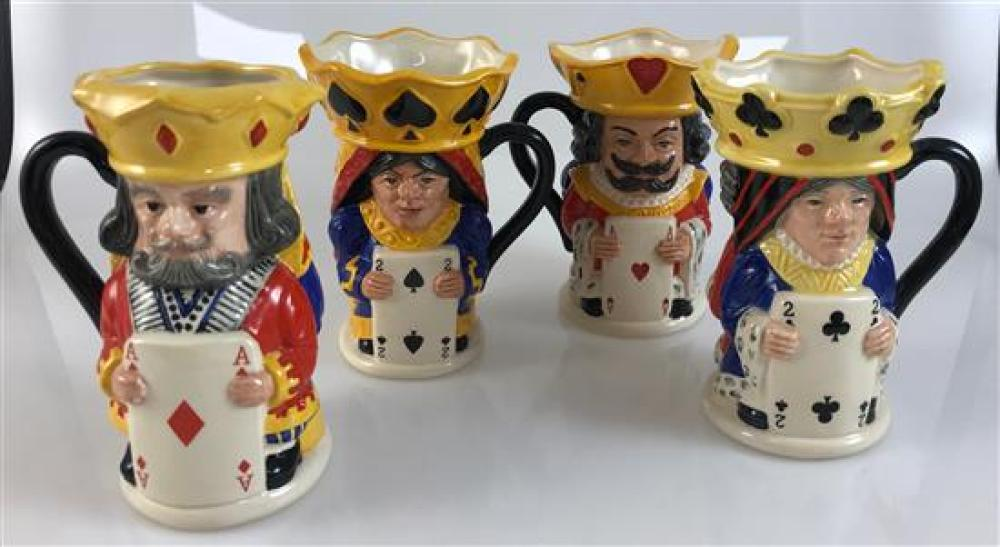 """SET OF 4 ROYAL DOULTON 5""""  DOUBLE SIDED TOBY MUGS - KING AND QUEEN OF HEARTS, SPADES, DIAMOND, CLUBS"""