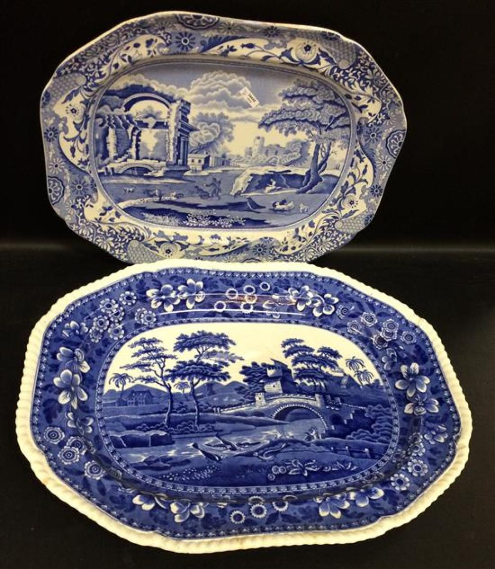COPELAND AND SPODE BLUE AND WHITE PLATTERS