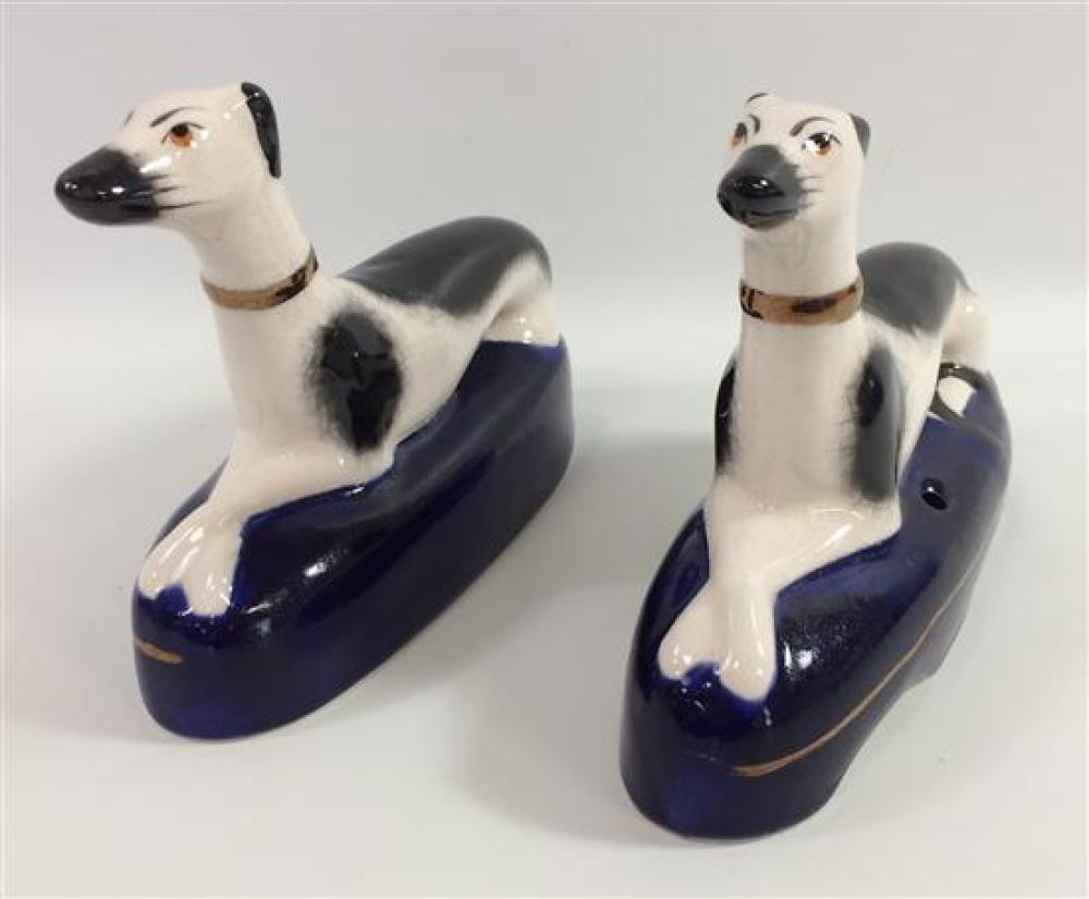 """PAIR STAFFORDSHIRE BLACK AND WHITE WHIPPET INKWELLS, 6""""H"""