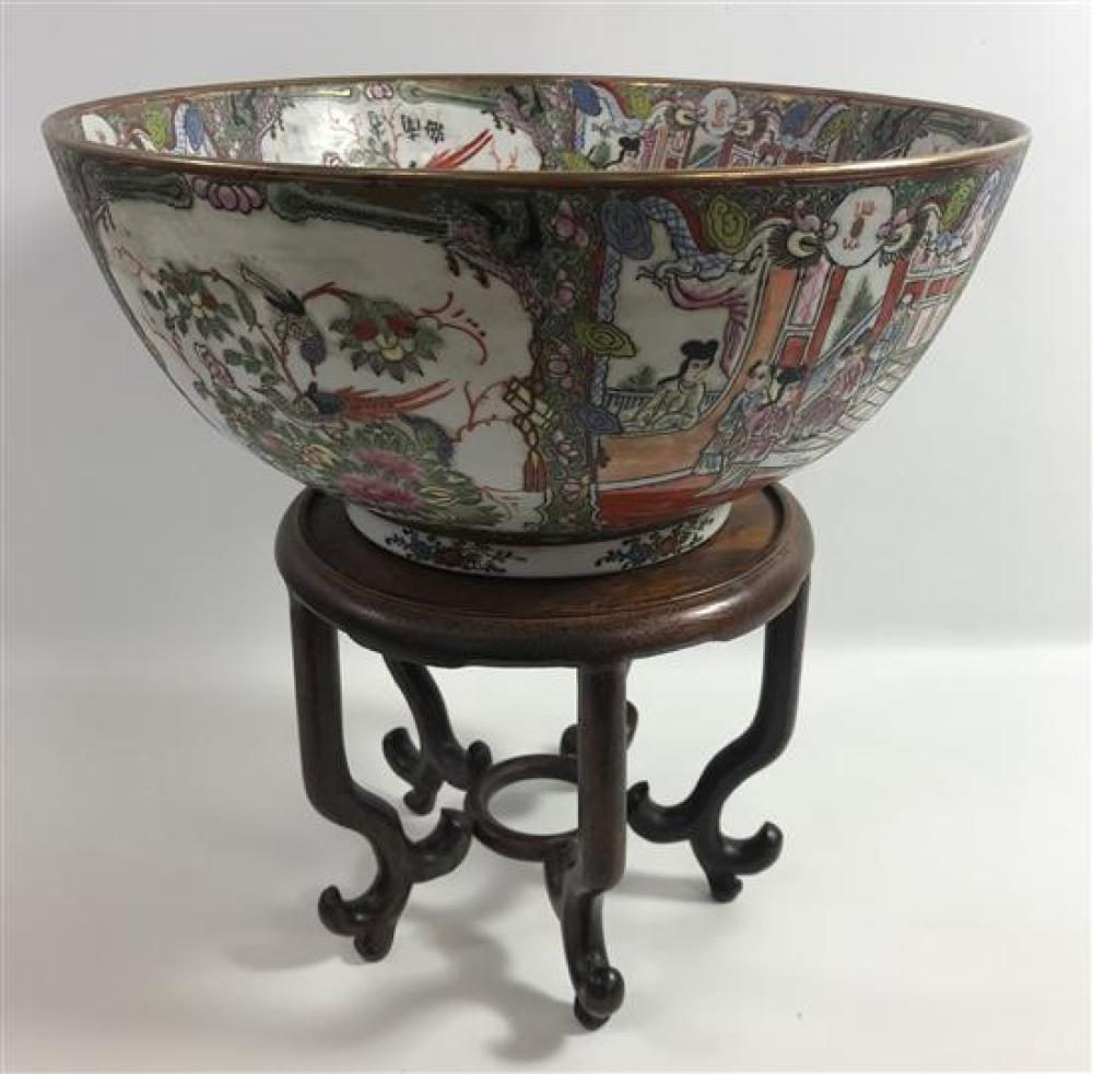 """LARGE ASIAN ROSE MEDALLION 14""""D BOWL ON WOODEN STAND, 14½""""OA"""