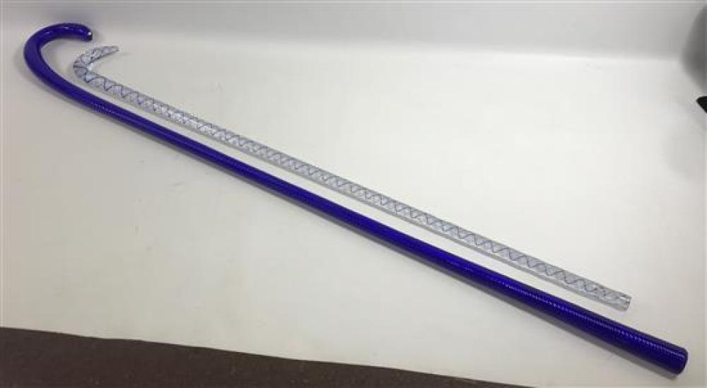 """2 GLASS PARADE CANES - BLUE AND WHITE SWIRL, 33"""" AND SOLID BLUE, 40""""****can not be shipped in house*****"""