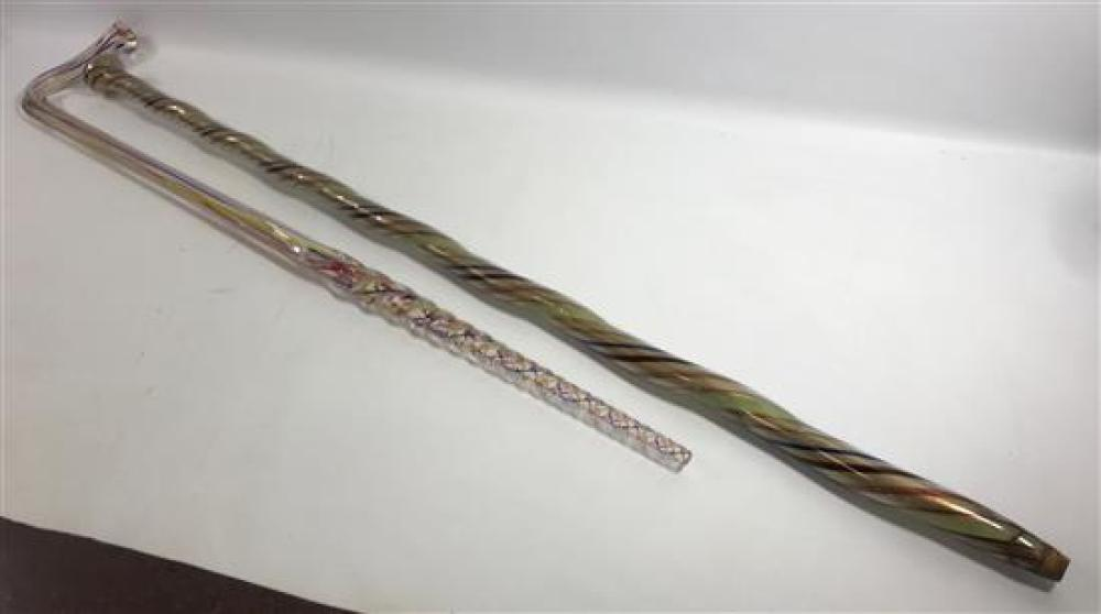 """2 GLASS PARADE CANES - GOLD WITH MULTI COLOR SPIRALS, 37"""" AND CLEAR WITH RED, BLUE AND YELLOW STRANDS, 31½""""****can not be shipped in..."""