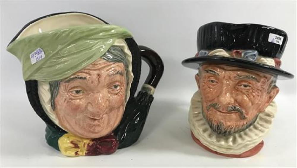 """2 ROYAL DOULTON CHARACTER JUGS - SAIREY GAMP AND BEEFEATER, 6"""" TO 7"""""""