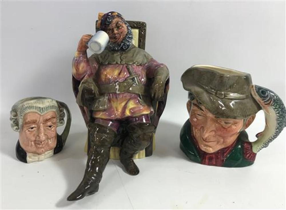 """3 ROYAL DOULTON ITEMS - THE FOAMING QUART FIGURINE, 6,"""" THE POACHER CHARACTER JUG, 4"""" AND THE LAWYER CHARACTER JUG, 2½"""""""