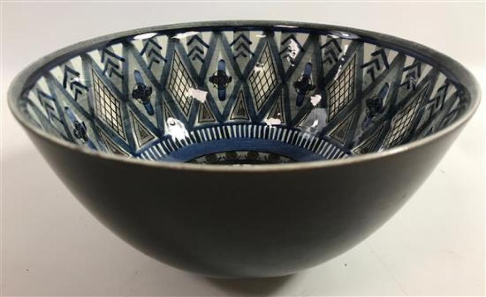 """DANISH HAND PAINTED AND GLAZED BOWL, 7¾""""D"""