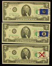 (3) 1976 TWO DOLLAR FEDERAL RESERVE NOTES WITH STAMP AND POSTMARK