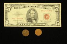 SERIES 1963 FIVE DOLLAR RED SEAL NOTE, 1883 INDIAN HEAD CENT, AND 1944 LINCOLN WHEAT CENT