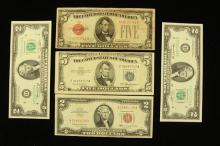 SERIES 1928 FIVE DOLLAR RED SEAL NOTE, SERIES 1953 FIVE DOLLAR SILVER CERTIFICATE, SERIES 1963 TWO DOLLAR RED SEAL NOTE, AND (2) SER...