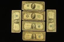 SERIES 1934 TEN DOLLAR FEDERAL RESERVE NOTE, SERIES 1950 TEN DOLLAR RESERVE NOTE, AND 4 SERIES 1957 ONE DOLLAR SILVER CERTIFICATES